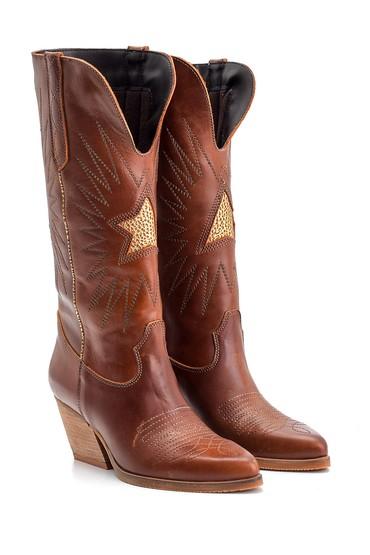 Kahverengi Kadın Kovboy Deri Çizme 5638126234