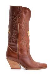 5638126234 Kadın Kovboy Deri Çizme