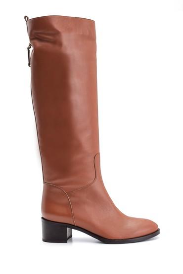 Kahverengi Kadın Topuklu Deri Çizme 5638122590