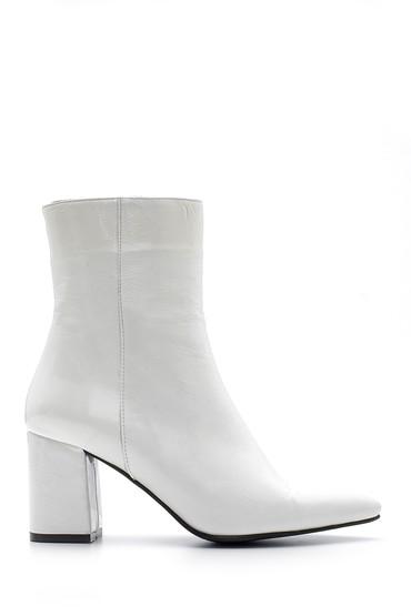 Beyaz Kadın Rugan Deri Topuklu Bot 5638087898