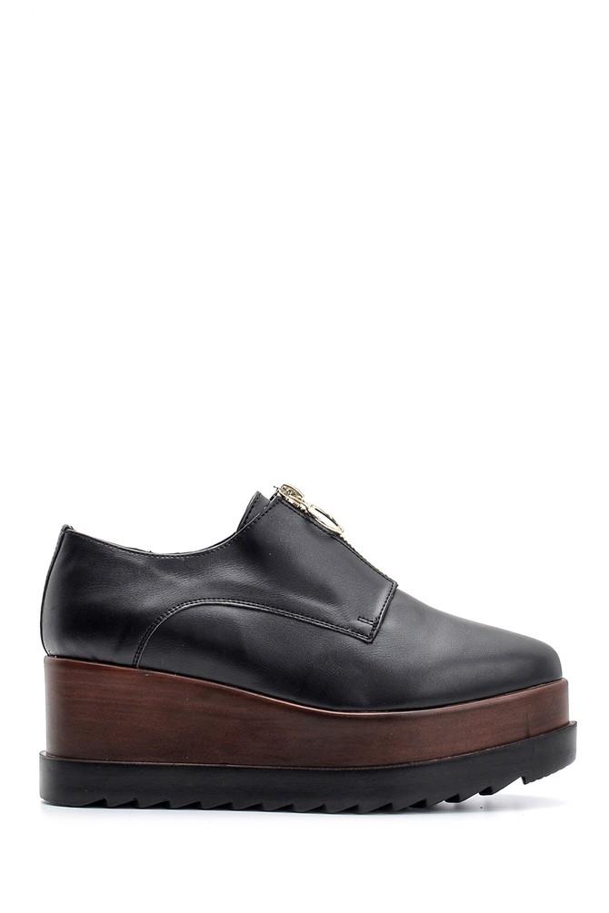 5638094151 Kadın Yüksek Tabanlı Fermuarlı Ayakkabı