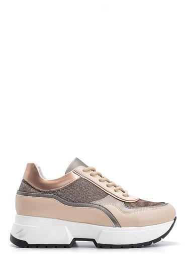 Bej Kadın Yüksek Tabanlı Sneaker 5638117526