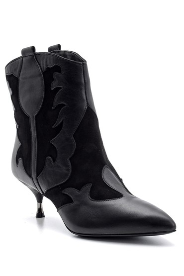 Siyah Kadın Topuklu Deri Bot 5638113932