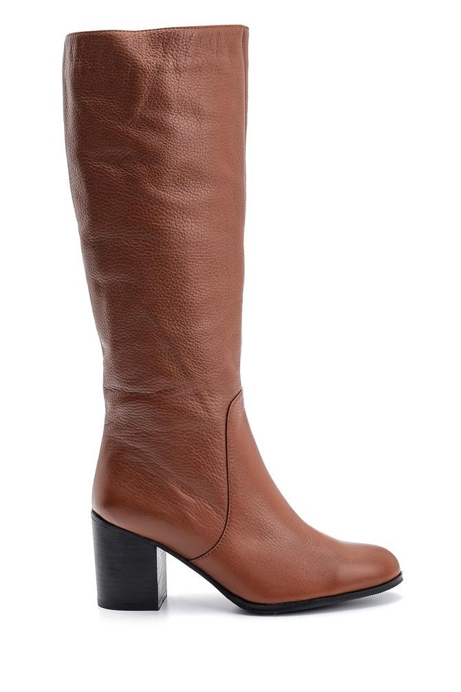 Kahverengi Kadın Topuklu Deri Çizme 5638121838