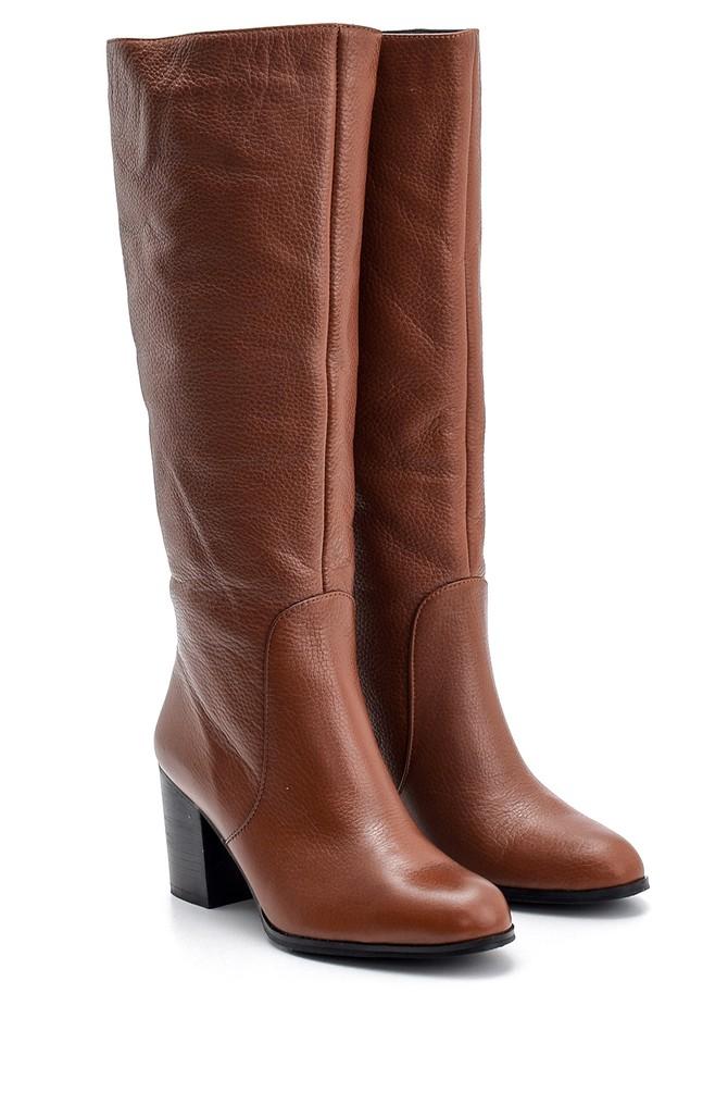 5638121838 Kadın Topuklu Deri Çizme