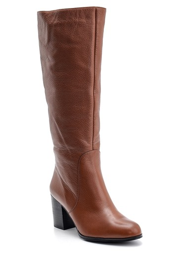 Kahverengi Kadın Topuklu Deri Çizme 5638121836