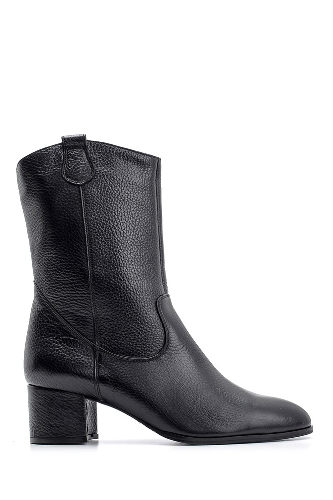 Siyah Kadın Topuklu Deri Bot 5638093059