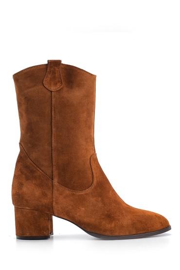 Kahverengi Kadın Süet Deri Topuklu Bot 5638093080