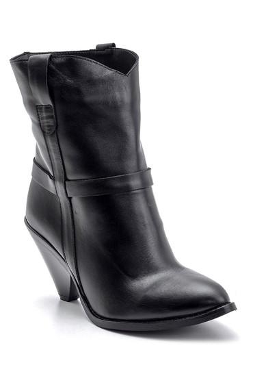 Siyah Kadın Topuklu Deri Bot 5638091146