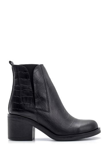 Siyah Kadın Kroko Desenli Topuklu Deri Bot 5638114421
