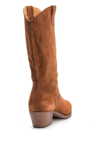 Kadın Topuklu Süet Deri Kovboy Çizme