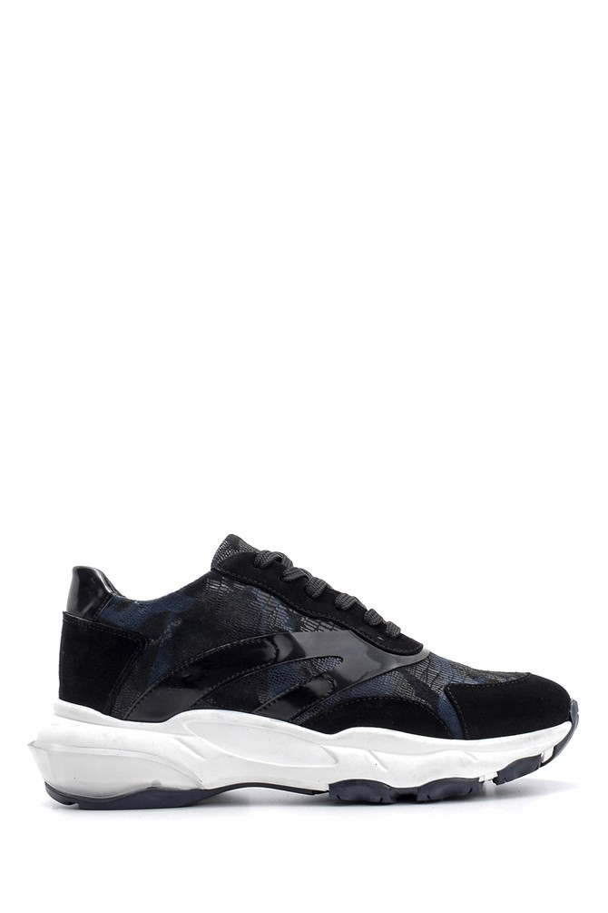 Lacivert Kadın Süet Detaylı Sneaker 5638119060