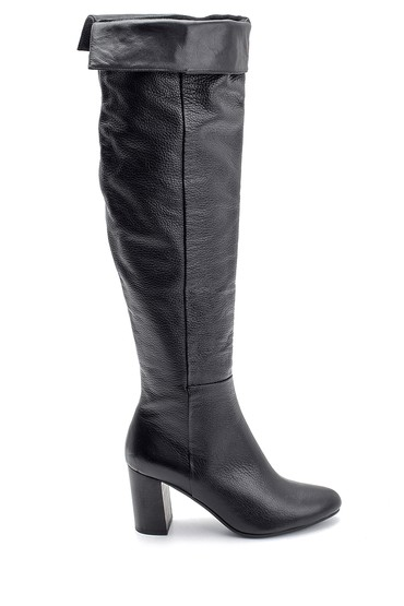 Siyah Kadın Topuklu Deri Çizme 5638122687