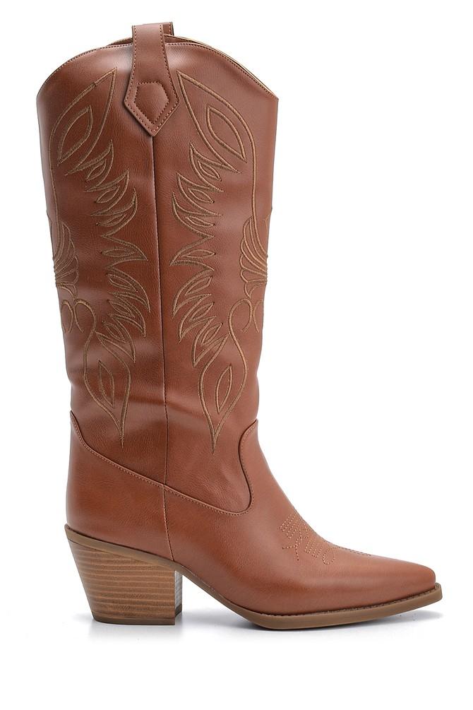 Kahverengi Kadın Topuklu Kovboy Çizme 5638122794