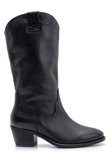 Siyah Kadın Topuklu Deri Çizme 5638139180