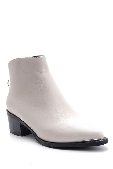 Beyaz Kadın Deri Topuklu Bot 5638103301