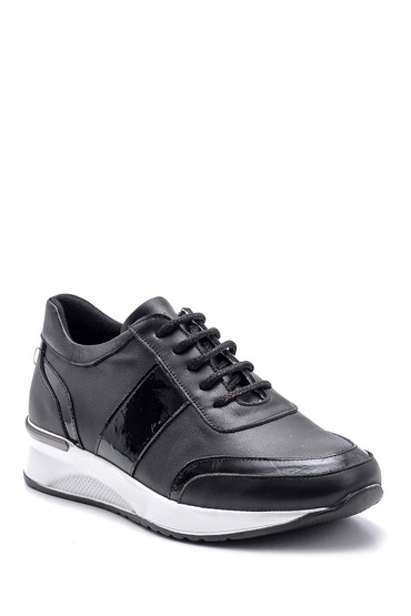 Siyah Kadın Rugan Detaylı Sneaker 5638087144