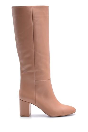Pembe Kadın Topuklu Deri Çizme 5638113991