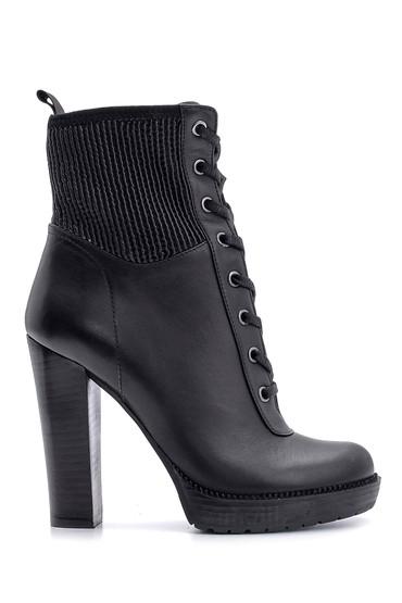 Siyah Kadın Deri Topuklu Bot 5638108332