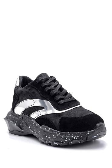 Siyah Kadın Süet Detaylı Sneaker 5638119070