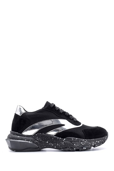 Siyah Kadın Süet Detaylı Sneaker 5638119062