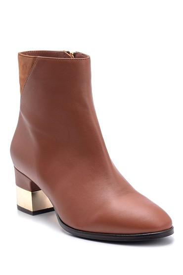 Kahverengi Kadın Metal Topuklu Deri Bot 5638122656