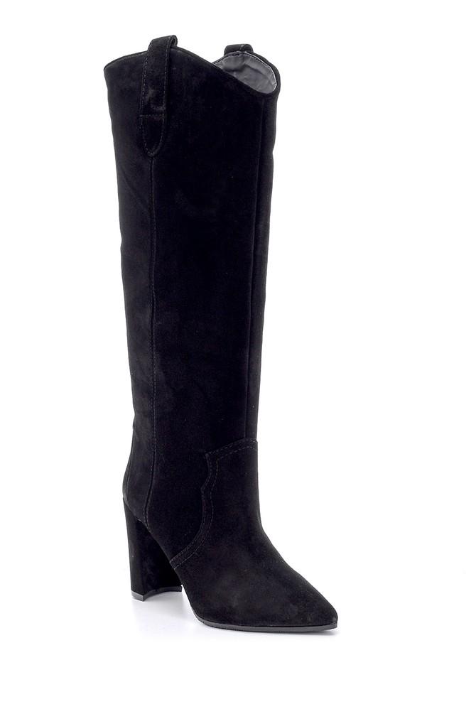 5638093647 Kadın Süet Deri Topuklu Çizme