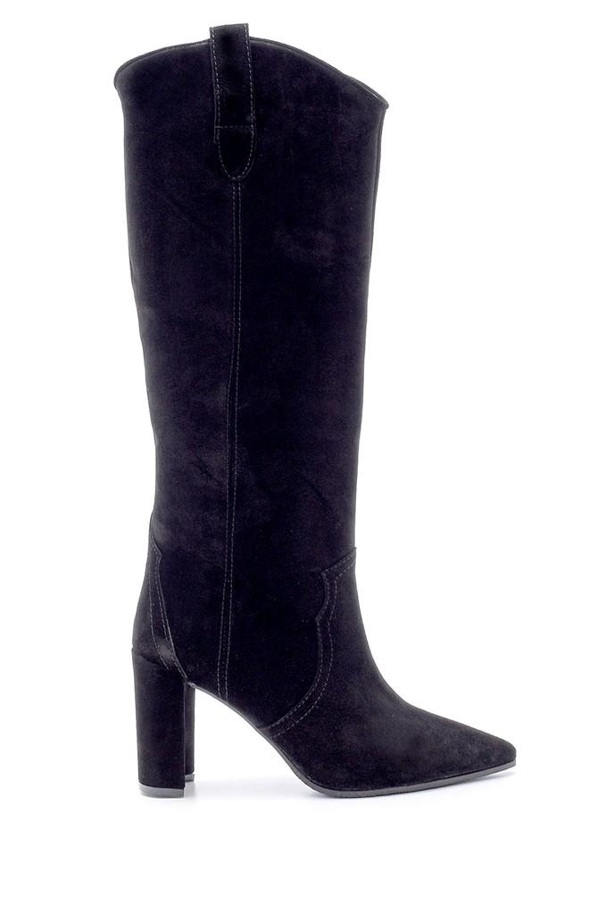 Siyah Kadın Süet Deri Topuklu Çizme 5638093647