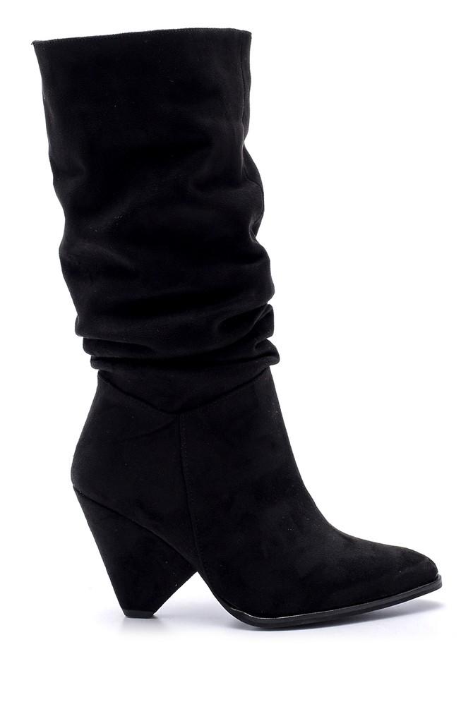 5638102131 Kadın Süet Topuklu Çizme