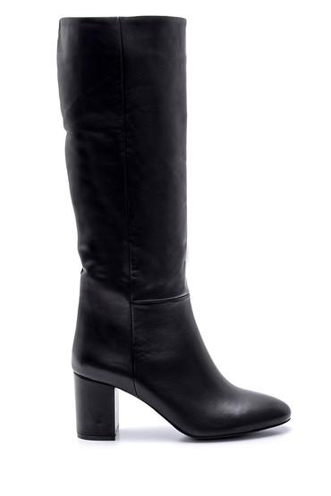 Siyah Kadın Topuklu Deri Çizme 5638113990