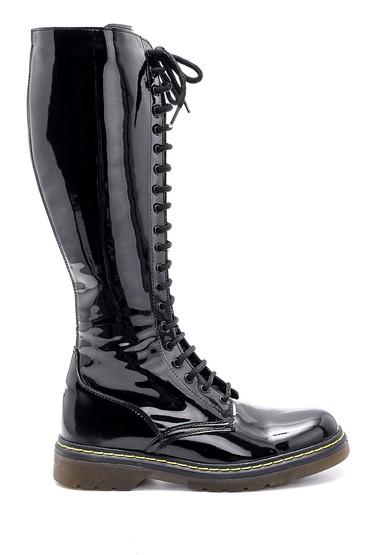 Siyah Kadın Rugan Bağcıklı Çizme 5638103814
