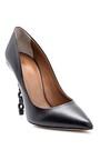 5638108412 Kadın Zincir Topuk Detaylı Deri Stiletto