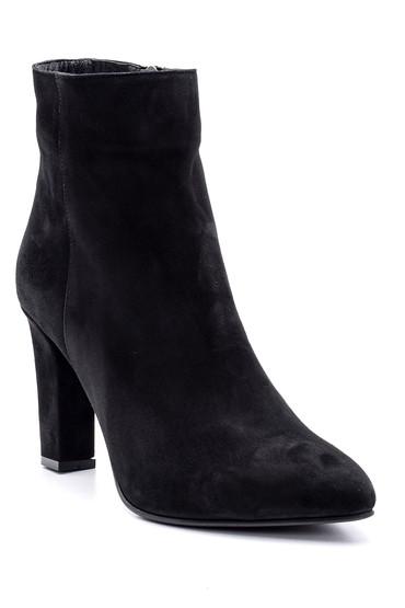 Siyah Kadın Süet Deri Topuklu Bot 5638155778