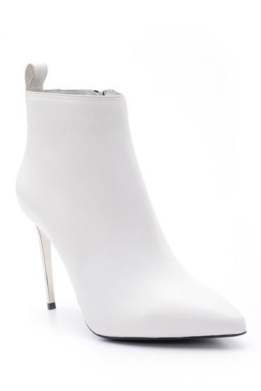 Beyaz Kadın Topuklu Deri Bot 5638098181