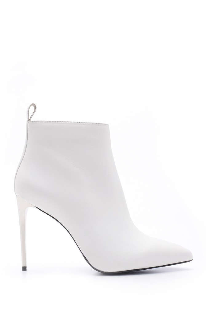 Beyaz Kadın Topuklu Deri Bot 5638098192