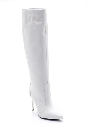Beyaz Kadın Topuklu Çizme 5638098331