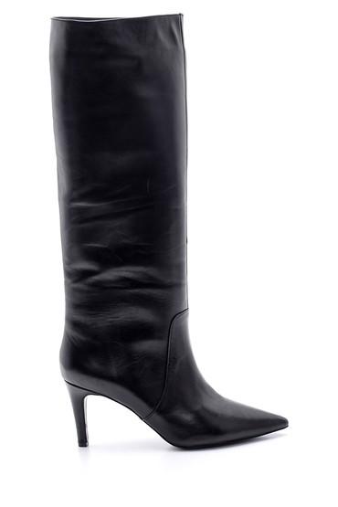 Siyah Kadın Deri Topuklu Çizme 5638098649