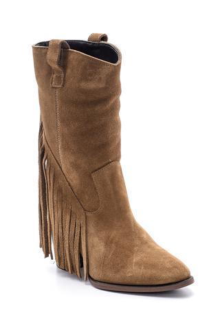 Kadın Süet Deri Püsküllü Çizme