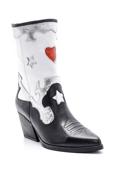 Siyah Kadın Gümüş Detaylı Kovboy Çizme 5638153160