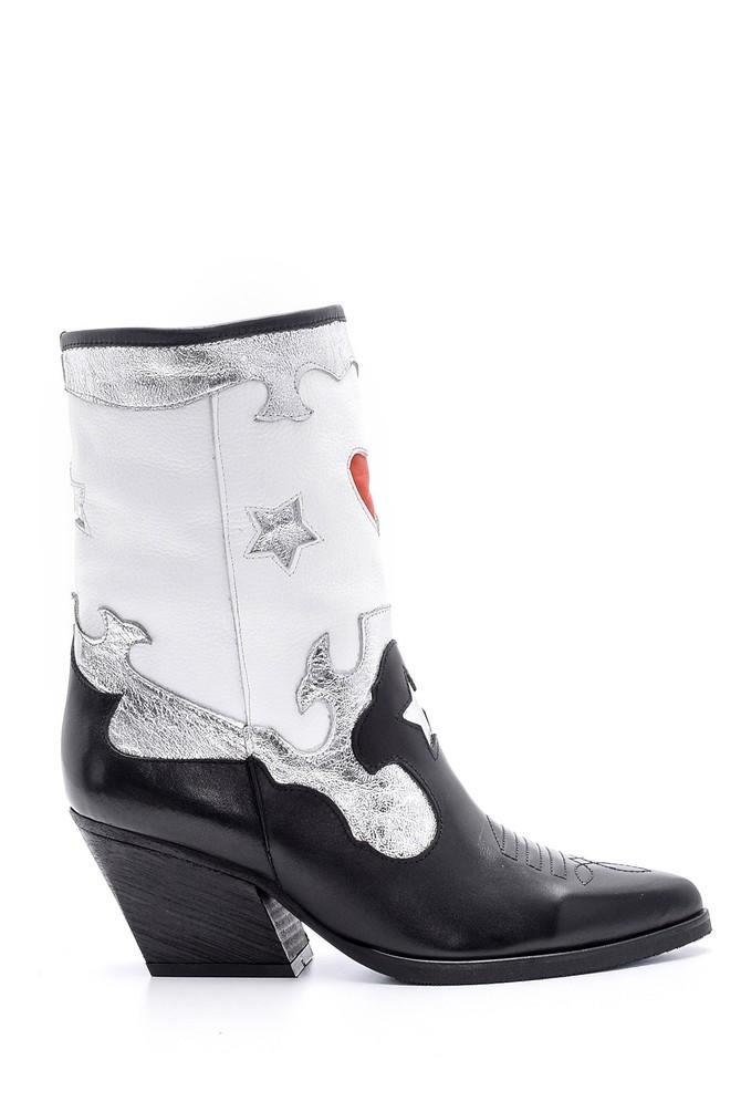 Siyah Kadın Gümüş Detaylı Kovboy Çizme 5638153166