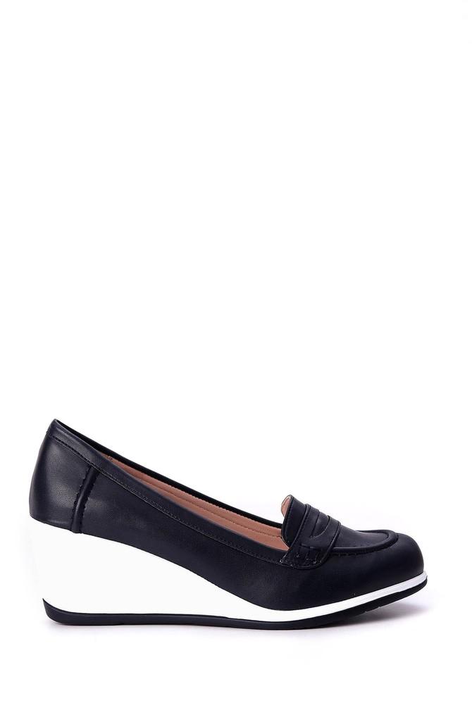Lacivert Kadın Dolgu Topuklu Ayakkabı 5638018028