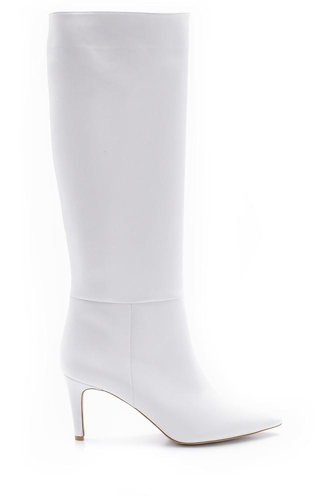 Beyaz Kadın İnce Topuklu Çizme 5638106073