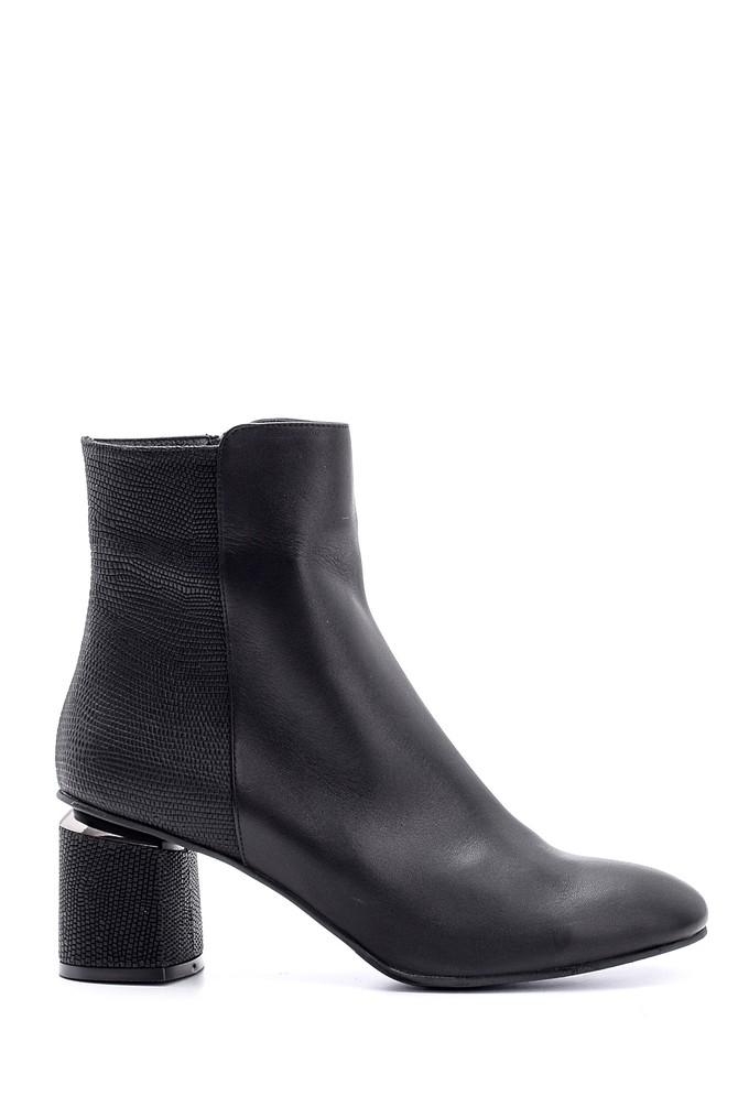 Siyah Kadın Topuklu Deri Bot 5638146218