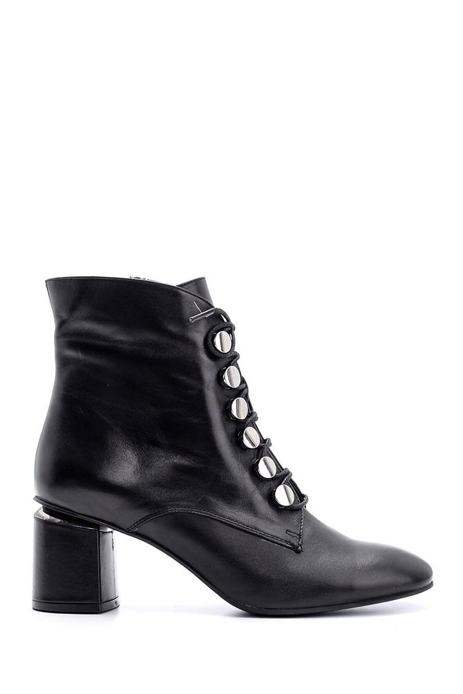 Siyah Kadın Topuklu Deri Bot 5638146278