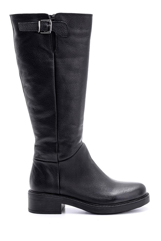 Siyah Kadın Toka Detaylı Deri Çizme 5638146581