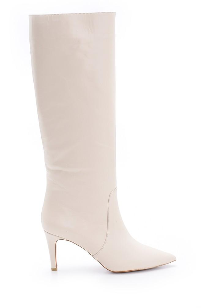 Bej Kadın Deri Topuklu Çizme 5638098648