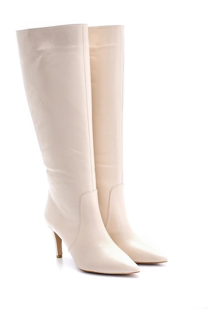 5638098648 Kadın Deri Topuklu Çizme