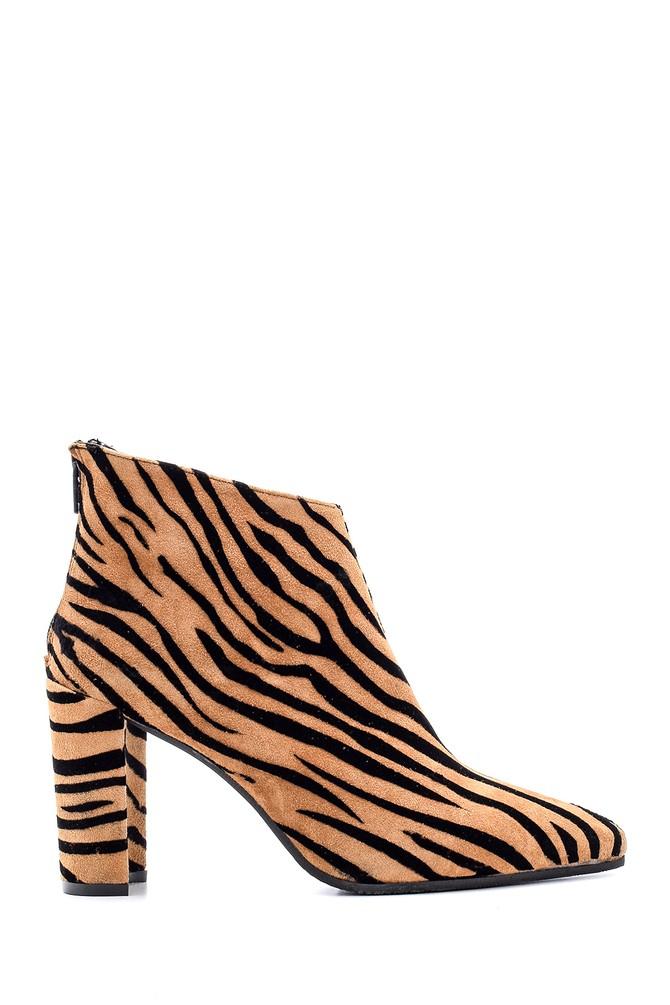 Kahverengi Kadın Desenli Topuklu Bot 5638092987