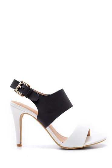 Siyah Kadın Toka Detaylı Topuklu Sandalet 5638123780