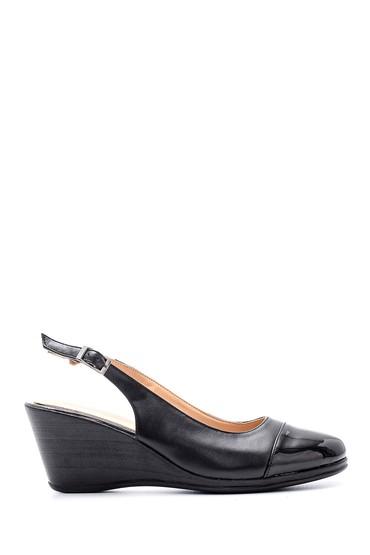 Siyah Kadın Rugan Detaylı Dolgu Topuklu Sandalet 5638121770